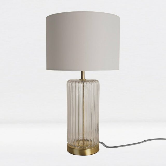 Classic Bronze with Ribbed Glass Table Lamp Bedside Light Ivory Textured Shade