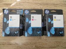 Lot of 3 Genuine HP 11 C4838A C4836A C4837A InkJet Cartridge DESIGNJET 10 20 50