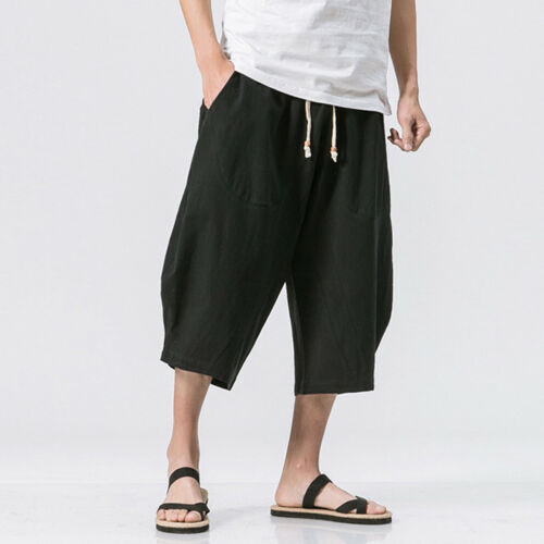 Men Summer Casual Cotton Linen Loose Retro Drawstring Harem Shorts Trousers