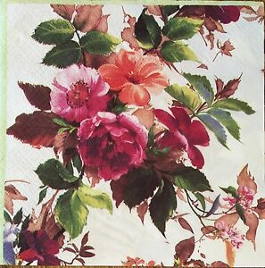 2 single paper napkins Decoupage Scrapbooking craft Collection Flowers Rose Lily