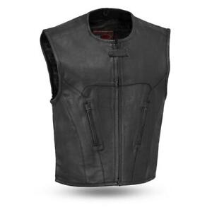 Men's Raceway Perforated Breathable Leather Biker Motorcycle Vest by Firstmfg