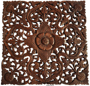 Details About Asian Carved Wood Wall Decor Plaque Floral Wood Wall Art Panel Dark Brown 24