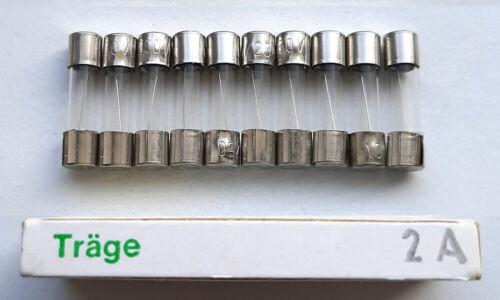 1 Paket Sicherung 2A 250V Träge 5X20 mm 10 Glassicherungen Feinsicherung Fuse