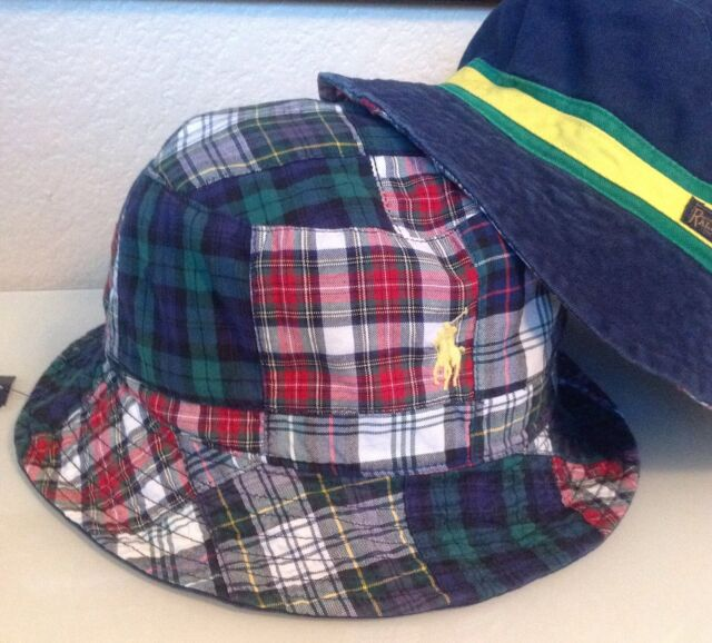 819154e067d1d NWT POLO RALPH LAUREN Reversible Chino Bucket Hat PATCHWORK Plaid Pony Navy  S M