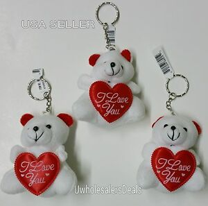 3-White-Soft-Teddy-Bears-KEY-CHAIN-with-Red-Heart-034-I-Love-You-034-Key-Chains