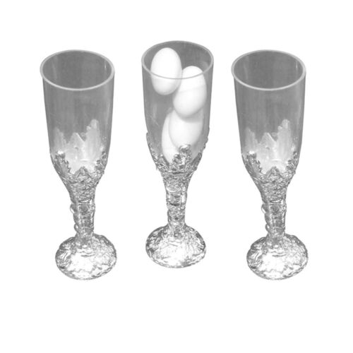 """silver 24 Plastic cup candy holder favor 4/"""" tall mini flute like shape"""