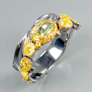 Vintage-Natural-Peridot-925-Sterling-Silver-Ring-Size-8-5-R100595