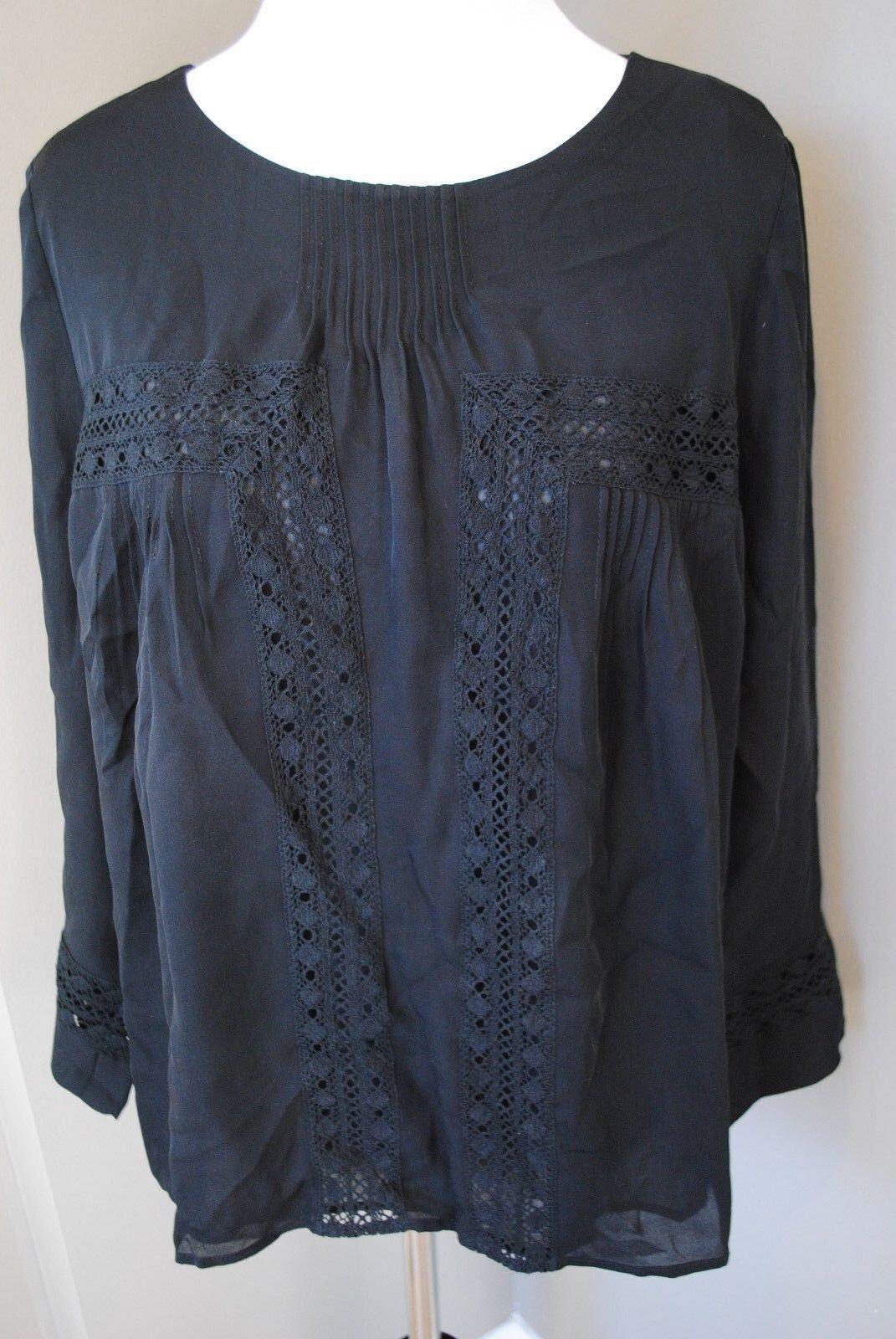 NWT J Crew Collection Petite Silk Peasant Top Blouse schwarz B1745  Sz 00 00P