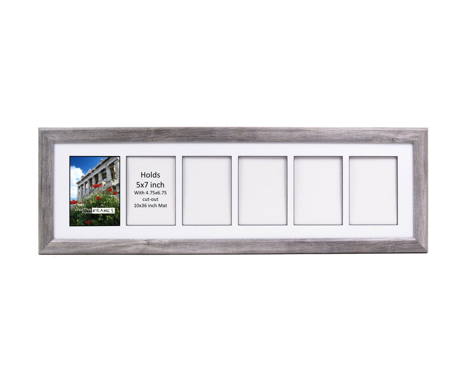 CreativePF 6 Opening Multi 5x7 Driftwood Picture Frame 10x32 Weiß Collage Mat
