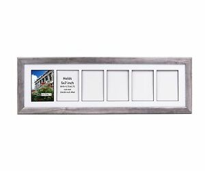 Creativepf 6 Opening Multi 5x7 Driftwood Picture Frame 10x32 White
