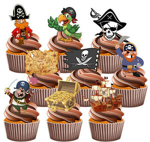 Pirate-Themed-Party-Pack-36-Edible-Cup-Cake-Toppers-Decorations-Boys-Birthday