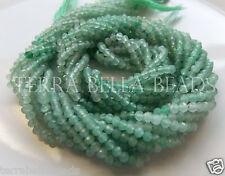 """13"""" shaded light green AVENTURINE QUARTZ faceted gem stone rondelle beads 3mm"""