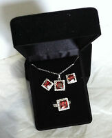 Qvc Silver Plated Earrings Pendant Ring Set Red Resin Garnet/ruby Ring Size 10