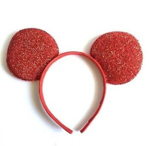 1 PC WHITE GLITTER MICKEY MOUSE EARS HEADBAND FITS MOST CHILDREN AND ADULTS
