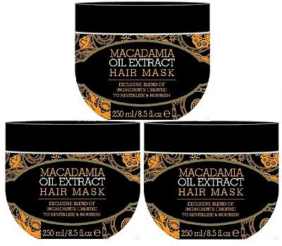 3 x 250ml Macadamia Natural Oil Extract Hair Treatment Mask