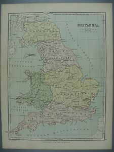 "Original Color Lithograph Map of ""Britannia"", Classical Atlas, 1890"
