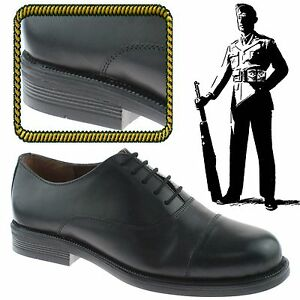 d718dceae0f4c Details about MENS OXFORD STYLE CADET PARADE CAPPED LEATHER ARMY UNIFORM  BOOTS SHOES BLACK UK