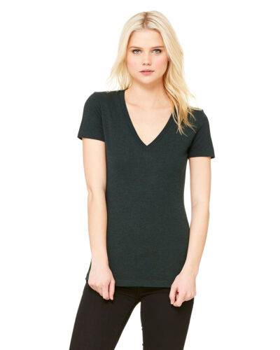 Bella Ladies Triblend Deep V Neck T Shirt Longer length Womens S M L XL 2XL 8435