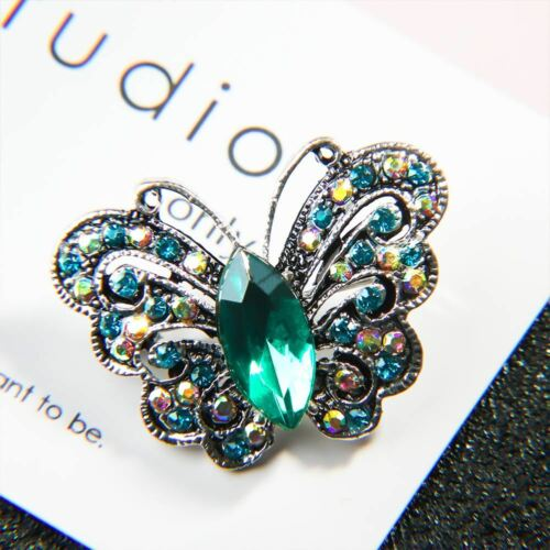 Vintage Rhinestone Butterfly Shape Metal Brooch Lapel Pin Women Fashion Jewelry