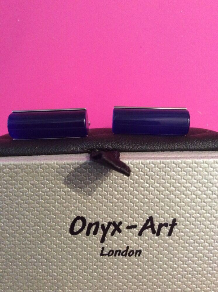 **REDUCED** Opaque Blue Tube/Cylinder Cufflinks by Onyx Art CK348