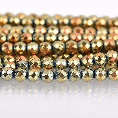 2mm Hematite Round Beads ROSE GOLD Titanium Coated Gemstone faceted ghe0191