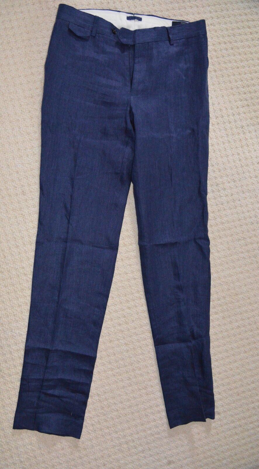 New Mango Man Tailored Slim Fit bluee Linen Trouser Flat Front Formal Pants W30