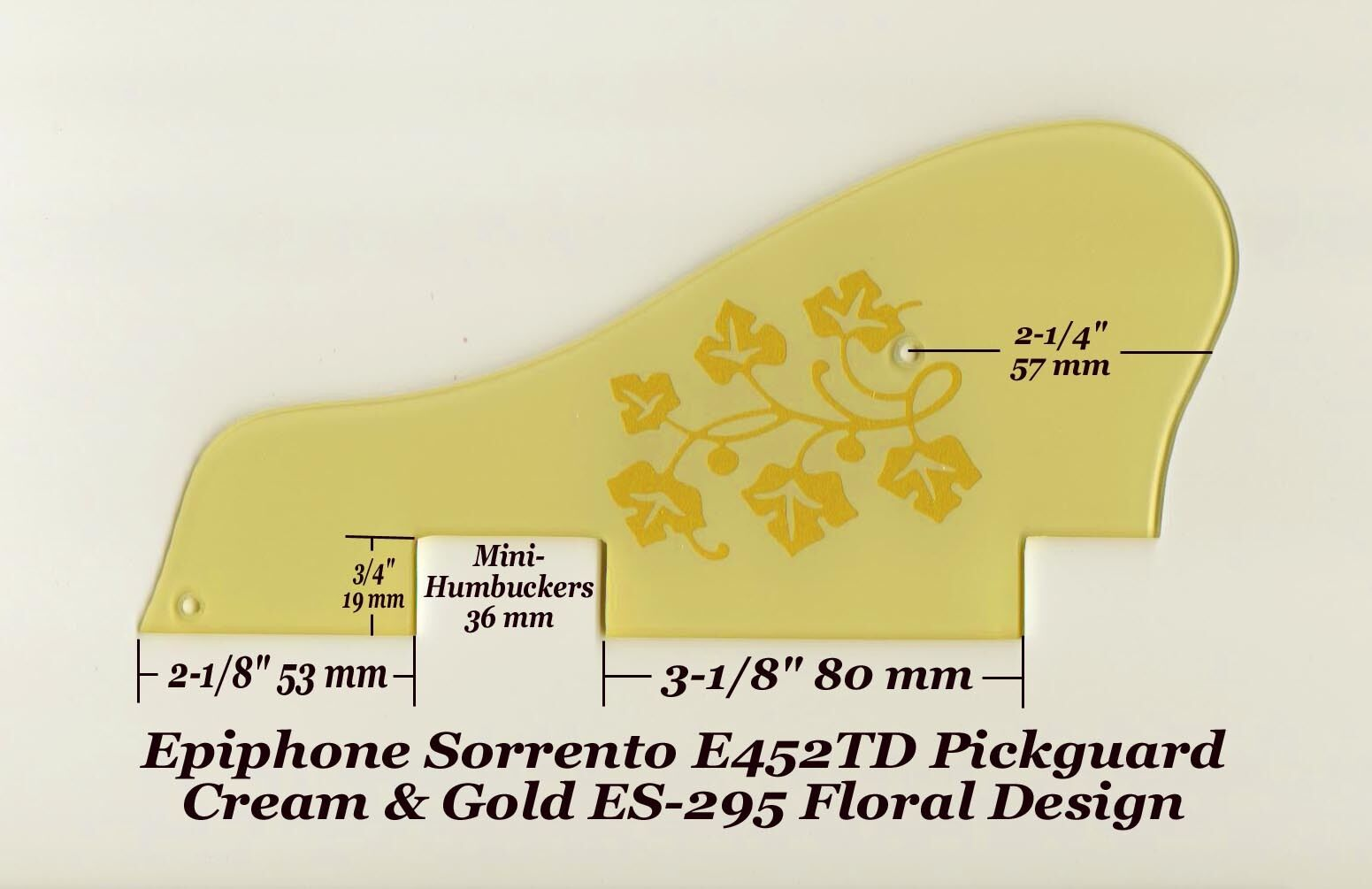 Sorrento E452TD Cream Gold ES-295 Mini-HB Pickguard for Epiphone Guitar Project