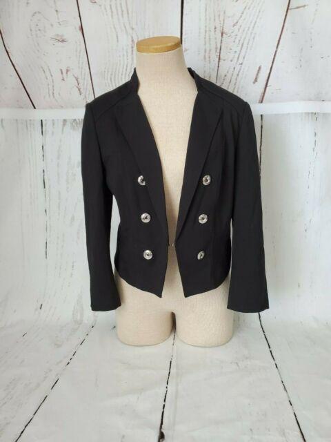 White House Black Market Blazer Jacket Size 8 Black Lightweight Double Breasted