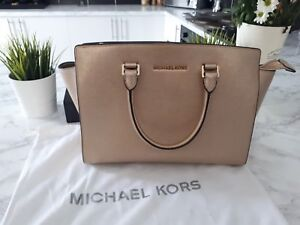 1cad6e900aee Image is loading Michael-Kors-selma-large-leather-satchel-gold