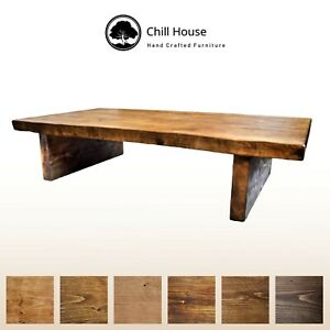 Waney / Live Edge Coffee Table Rustic Solid Wood Chunky Vintage Low Rustic Oak
