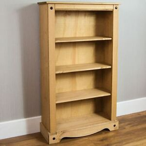 Corona-Medium-Bookcase-Solid-Pine-Mexican-Shelves-Storage-Wood-By-Home-Discount