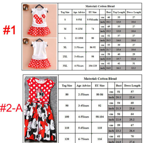 Summer Toddler Baby Girls Minnie Mouse Party Clothes Cartoon Mini Dress 0-7Years