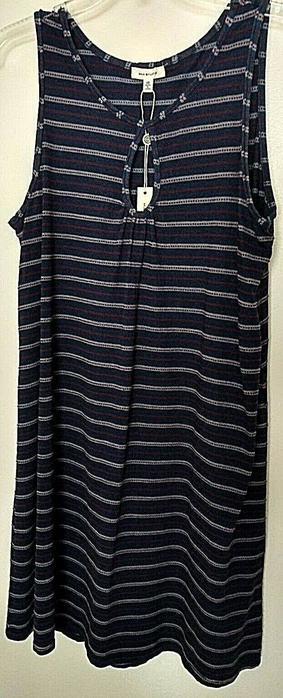 Max Studio 100% cotton navy bluee multi-striped sleeveless shift dress Size XS