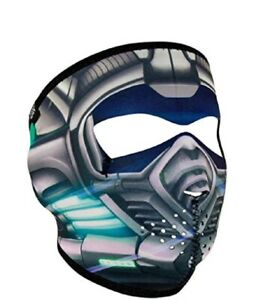Titanium Robot Cyber Skull Neoprene Full Face Mask Biker Reversible To Black Ebay