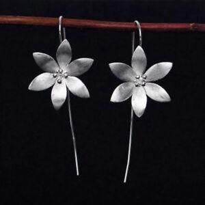 Silver-Plated-Flower-Long-Drop-Dangle-Tassel-Hook-Earrings-Women-Jewelry-Gift