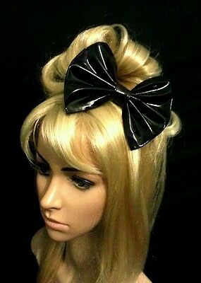 """6"""" Large Black patent PU wetlook pvc hair bow clip. Pin up. Goth. Fetish. 80's"""