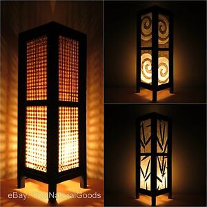 Details About Asian Oriental Bamboo Zen Art Bedside Table Lamp Wood Shades Desk Night Lights