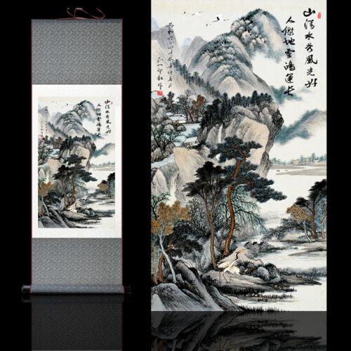 山青水秀 Chinese Silk Scroll Painting Mountain Green Water Show Home Decoration
