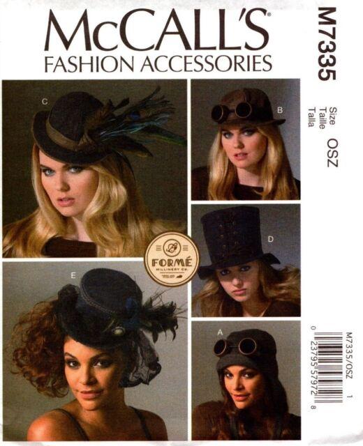 McCalls Sewing Pattern 7335 M7335 Fashion Accessories Womans Hats XS-L NEW