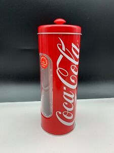 Coca-Cola-Sheet-Metal-Can-Straw-Can-9-1-8in-Top-Condition