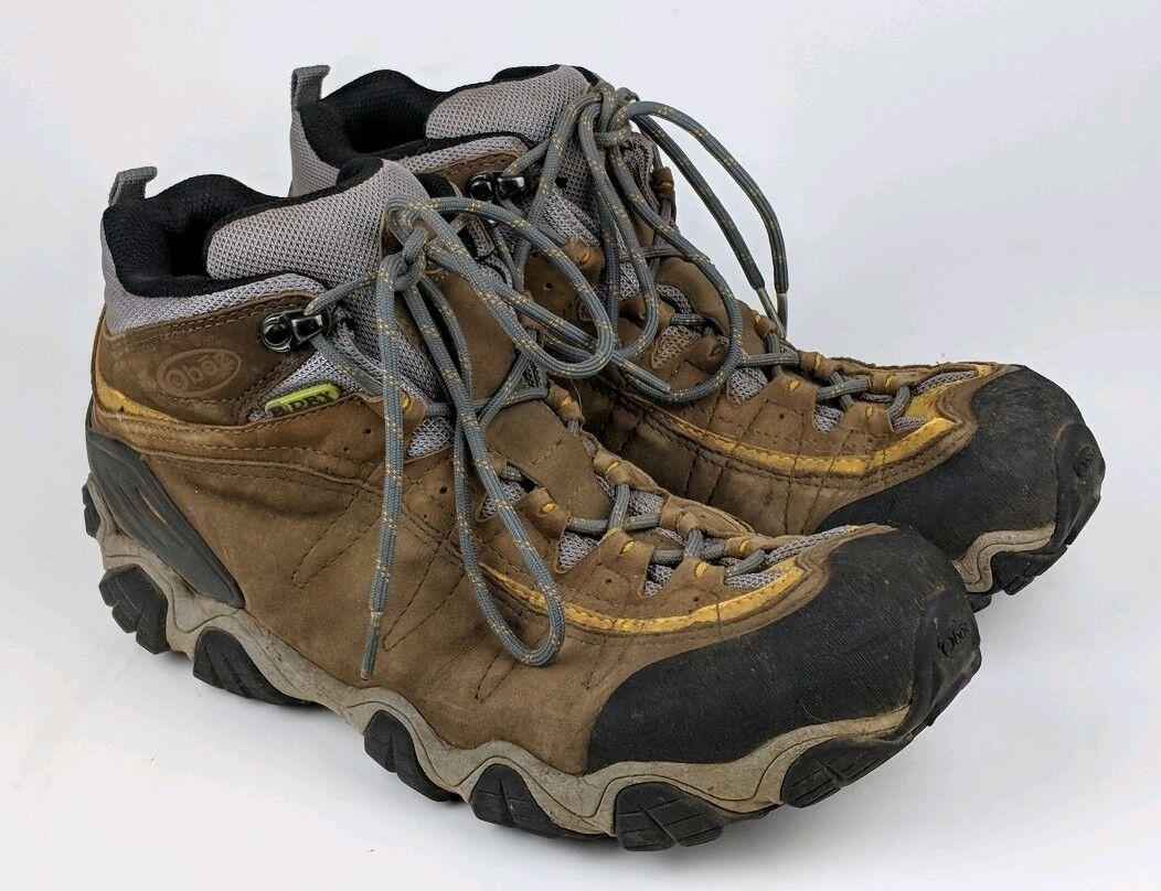 Men's Oboz BDry Waterproof giallostone mid Hiking stivali US 12 ankle GUC Marronee