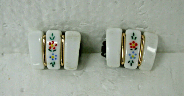 VINTAGE CLIP ON EARRINGS PORCELAIN WITH DESIGN