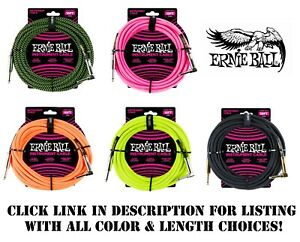 ERNIE-BALL-10-039-or-18-039-BRAIDED-INSTRUMENT-GUITAR-CABLE-5-COLOR-CHOICES