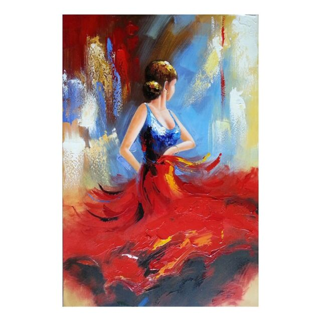 Original Hand Paint Canvas Oil Painting Abstract Woman Portrait Art Decor Framed