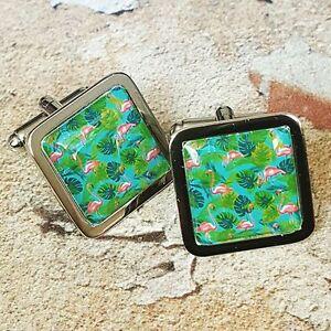 FLAMINGO DESIGN CUFFLINKS chrome VINTAGE pink green KITSCH 50/'s retro Unique
