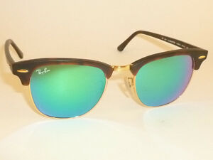 ray ban clubmaster matte  New RAY BAN Clubmaster Matte Tortoise RB 3016 1145/19 Green Mirror ...