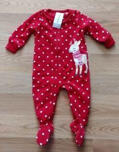 888305f49487 NWT Girl s CARTER S Red Polka Dot Reindeer Sleeper Pajama Outfit ...