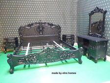 Gotico Nero Super King Size Francese Stile Barocco Louis... Alta qualità Rococò letto