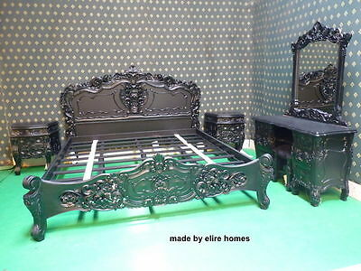 Gothic Black Super King Size French Baroque Louis style ..TOP Quality Rococo Bed