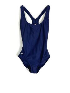Speedo Womens Swimwear Size 6 Navy Blue One Piece Padded Stretch Athletic Swim